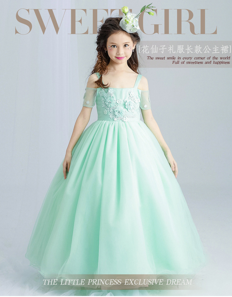 Sweet Mint Green Flower Girl Dress for Wedding Ankle Length Appliques Bead Kids Party Prom Dresses First Communion Dresses mint green casual sleeveless hooded top