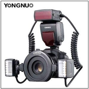 Image 1 - Yongnuo YN 24EX الماكرو حلقة فلاش speedlite مع 2 رئيس 4 محول خواتم لكانون كاميرا فلاش