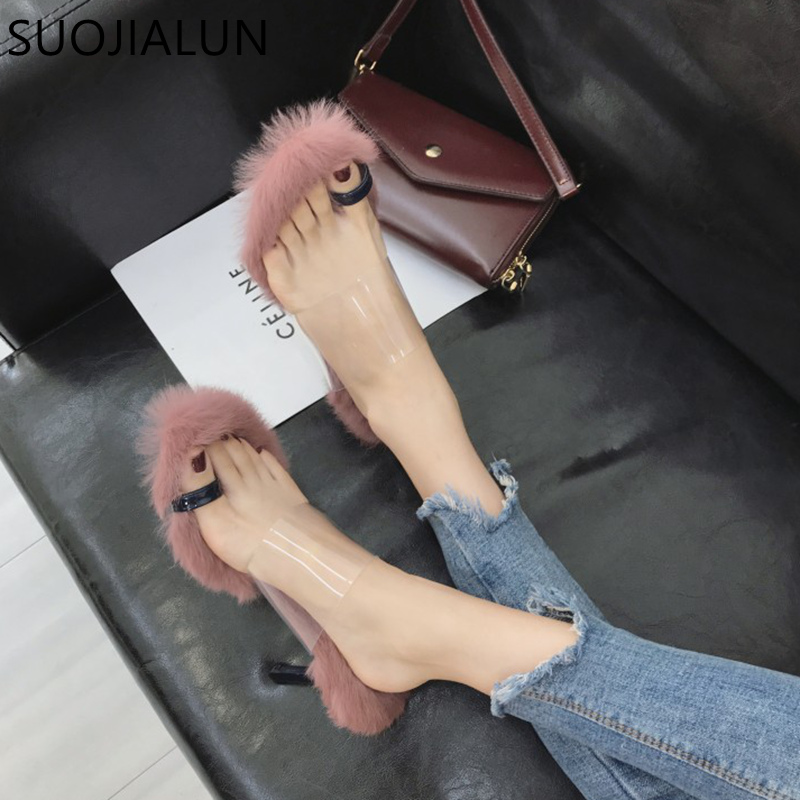 SUOJIALUN 2018 חדש אופנה נשיות סקסי גבוהה עקב סנדלי פלאפי פרווה אלגנטי נעל גבירותיי נעלי כפכפים נשים