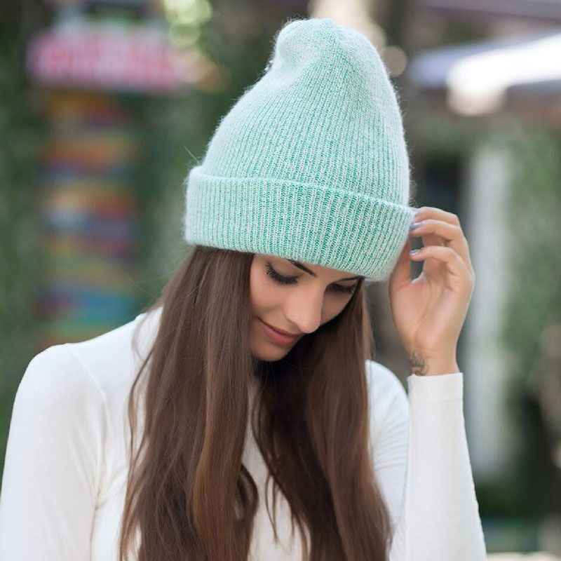 c32cf2bb3 2019 new simple Rabbit fur Beanie Hat for Women Winter Skullies Warm  Gravity Falls Cap Gorros Female Cap