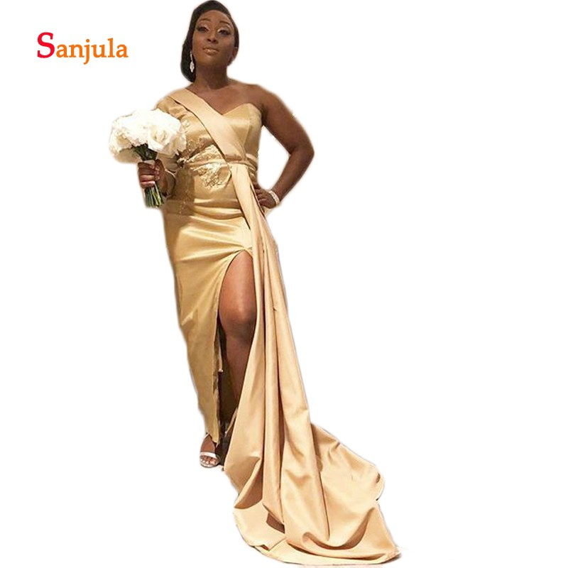 One Shoulder Champagne Satin   Bridesmaid     Dresses   Long Sleeve Black Girls Wedding Party   Dress   Appliques Leg Split Slit D398