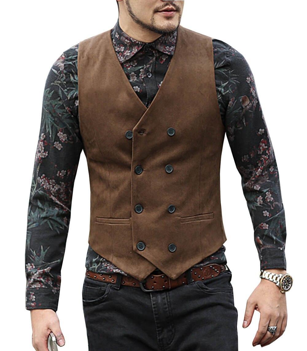 Mens Suit Vest V Neck Wool Brown Black Double-breasted Slim Fit Waistcoat Casual Formal Business Groomman For Wedding Vest