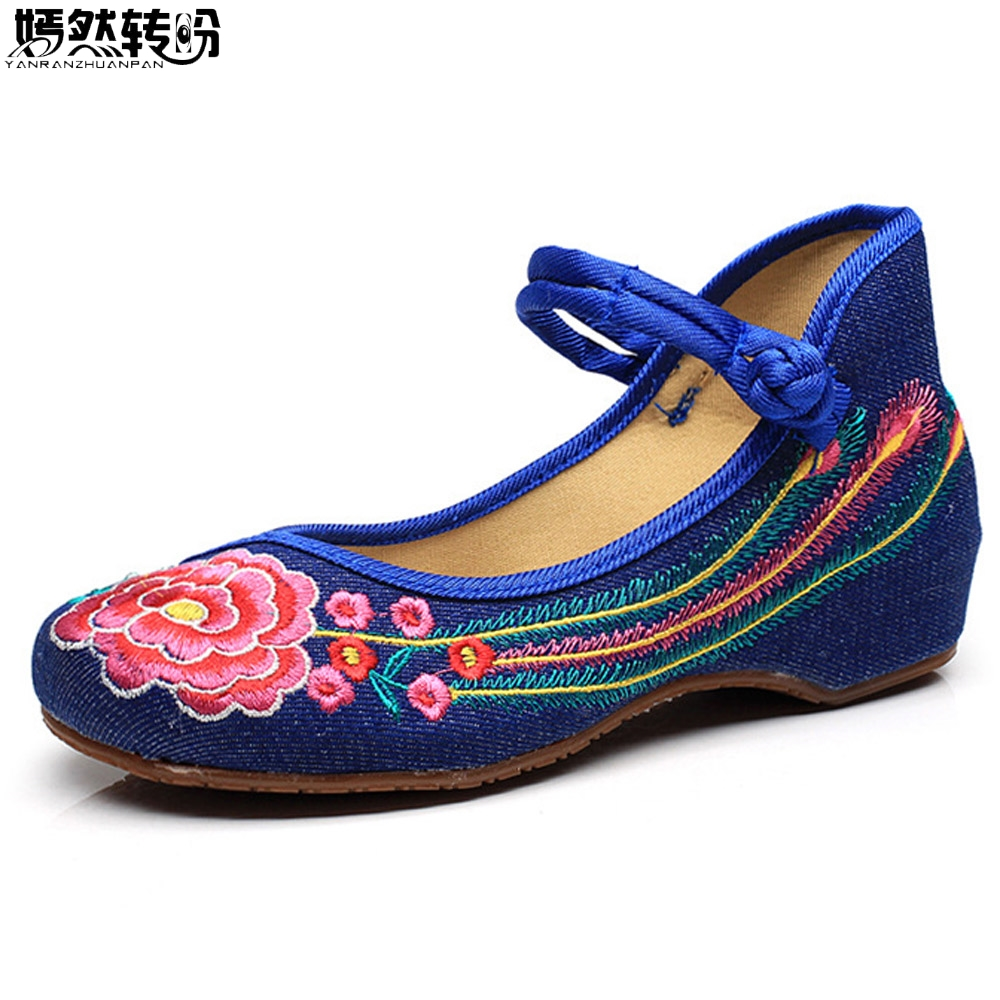 Women Flats Casual Flower Embroidery Shoes Chinese Old Beijing Ladies Canvas Ballet Shoes Woman Zapatos Mujer Plus Big Size 41 women flats old beijing floral peacock embroidery chinese national canvas soft dance ballet shoes for woman zapatos de mujer