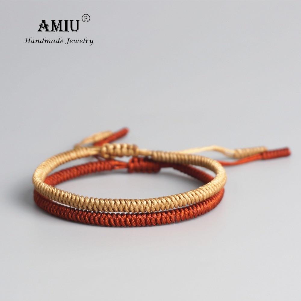 AMIU 2pc Tibetan Buddhist Lucky Woven Tibetan Bracelets & Bangles For Women Men Handmade Knots Deongare Rope Wish Gift Bracelet