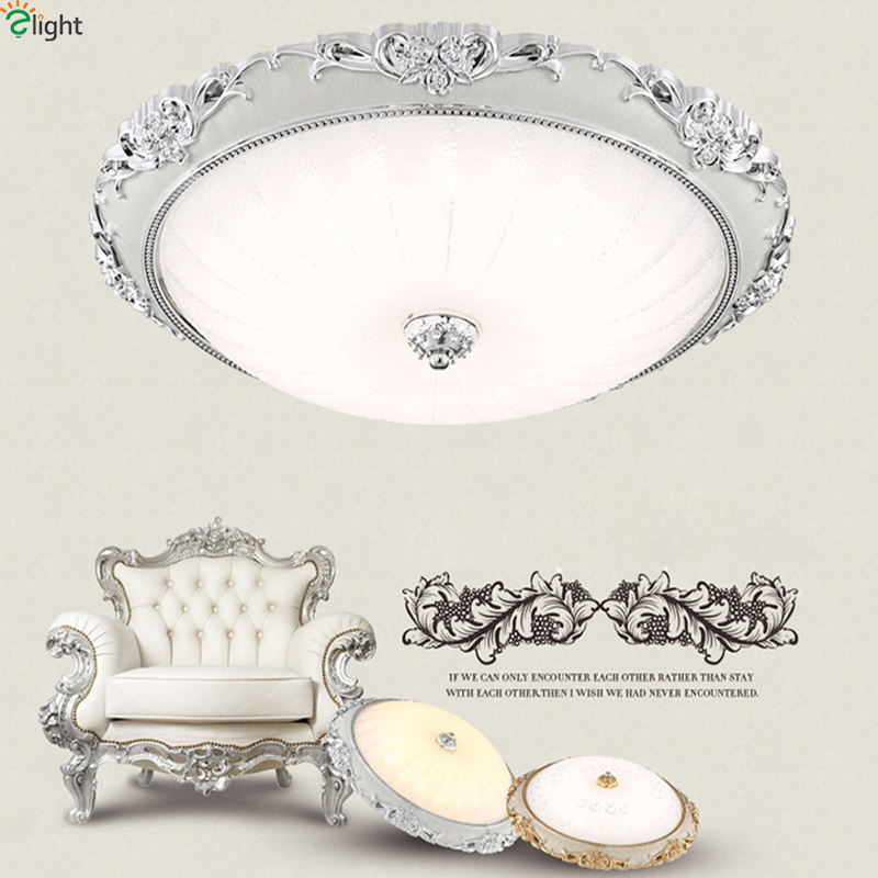 European Retro Carved Resin Led Ceiling Lamp Lustre Glass Shades Bedroom Led Ceiling Lights Living Room Ceiling Light Fixtures american retro iron e27 led ceiling lights lustre glass bedroom led ceiling lamp balcony led ceiling lighting light fixtures