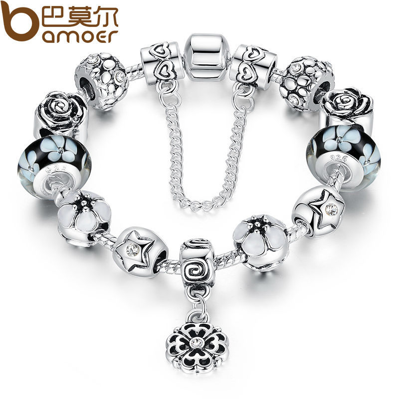 Authentic Silver Color Round Charm Bracelet with Safety Chain for Women Original Jewelry PA1850 купить в Москве 2019
