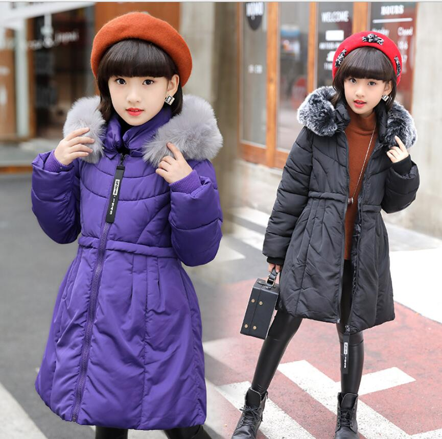 цена на teenager New down jacket 2018 Fashion Children Winter Jacket Girl Winter Coat Kids Warm Thick Fur Collar Hooded long down parkas
