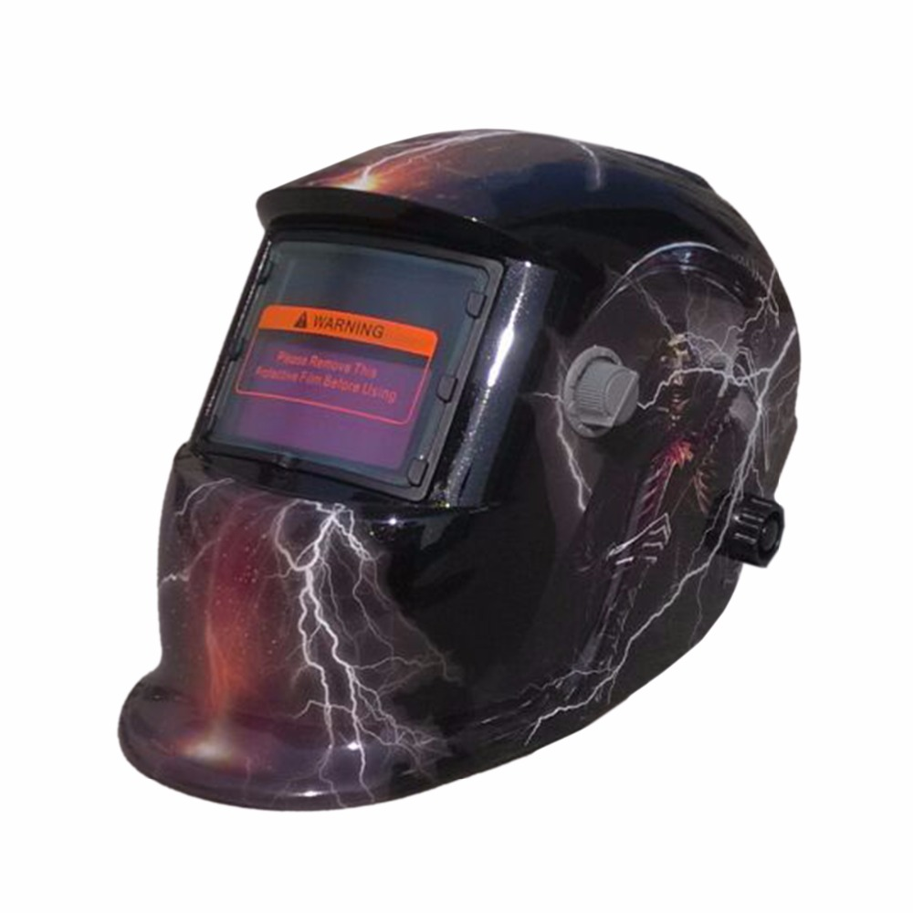 Fire Flames Auto-Darkening Solar powered Welder Mask Skull Welding Helmet Tools lens for welding machine PP Adjust dekopro skull solar auto darkening mig mma electric welding mask helmet welder cap welding lens for welding machine