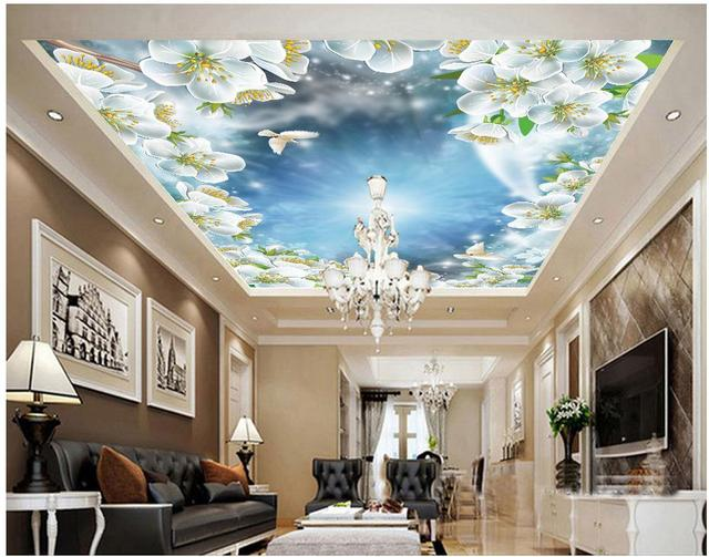 Peach pigeon sky ceiling wallpapers for living room custom for Zoom room design