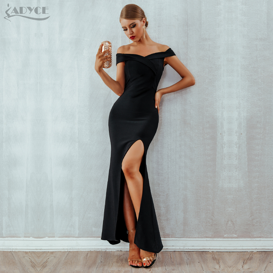 cf46b1091f1 Adyce 2019 летнее женское Бандажное платье Сексуальное Черное длинное платье  для вечеринки Vestidos элегантное с открытыми