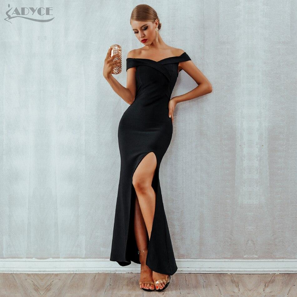 Adyce 2020 Summer Women Bandage Dress Sexy Black Long Maxi Club Dress Vestidos Elegant Off Shoulder Celebrity Runway Party Dress