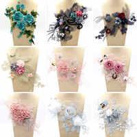 15/gatunków opcjonalnie hafty koronki kołnierz perły koraliki 3D kwiat aplikacja odzież ślubna dekoracji Boutonniere plastry