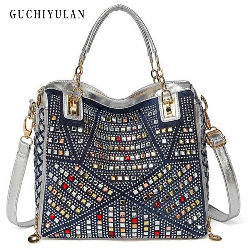 Vintage Design Fashion Denim Women Bag Jeans Shoulder Bags Girls Handbags Glitter Rhinestone Crossbody Bag Women Messenger Bags