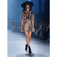 Ruffled heavy mesh gauze flying flying sleeves sleeve dress black party lace mini dress Elegant and delicate dress