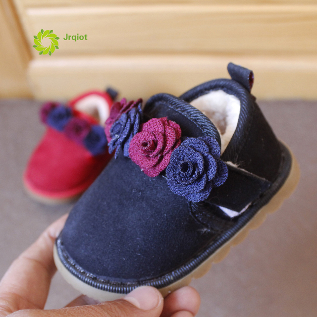 JRQIOT 2017 Winter New Baby Warm Shoes Small Pieces Of Princess Cotton Shoes Baby Low - Thick Flat  With Flannel Shoes