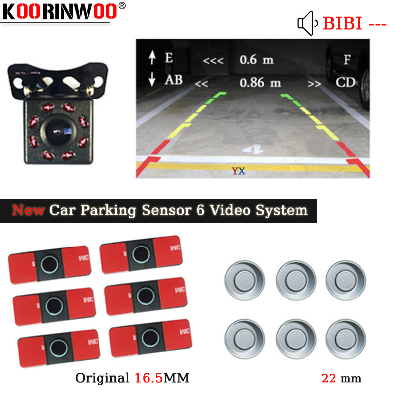 Koorinwoo Original Car Parking Sensor 6 Parktonic Video 4 Probes With Car Rearview camra Buzzer Reverse Radar Black White Grey