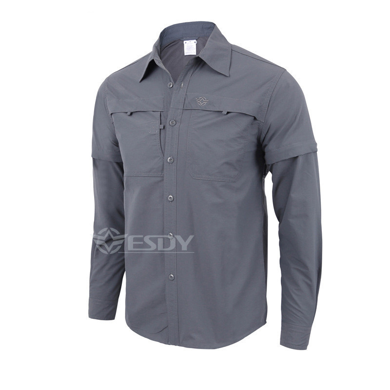 Outdoor Spring Summer Men s Quick Dry Detachable Long short Sleeve Shirt man Anti-UV Hiking Fishing Hunting Breathable Shirts navy fake pocket design short sleeve men s cotton men s polo shirt