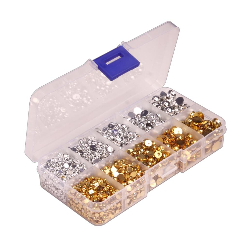 A Box 3-8mm Half Pearl Flatback Beads for Jewelry Making Craft Silver Gold