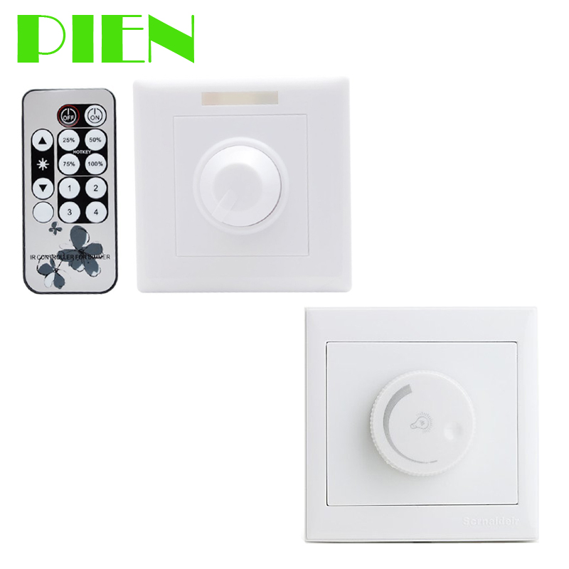triac led dimmer switch 220v 110v wall mounted with remote controller 300w for led light. Black Bedroom Furniture Sets. Home Design Ideas