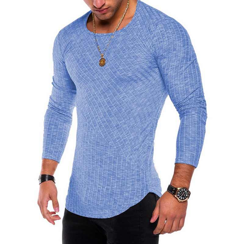 2019 nuevo Oeak para hombre de Color sólido Casual costura delgada de manga larga Camiseta lisa de diseño de retazos Camisas Slim Fit hombres otoño