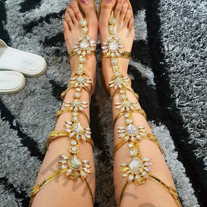 Woman Sandal Boots Rhinestone Lady Knee High Boots Thin High Heels Stiletto Crystal Dress Summer Shoes Woman Sandal Boots Rhinestone Lady Knee High Boots Thin High Heels Stiletto Crystal Dress Summer Shoes Sandalias Bohemia Style