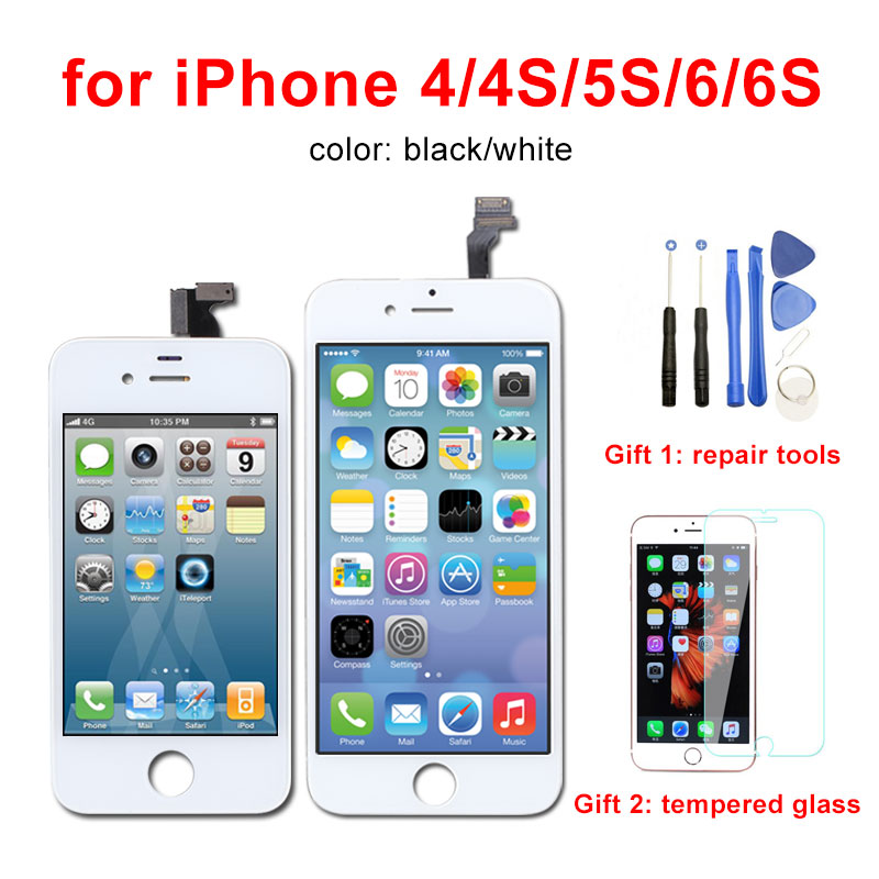 AAA Qualidade Display LCD para iPhone Tela 5S 6 6 s Digitador Assembléia Pantalla para iPhone 4 de Pixel Não Morto 4S LCD