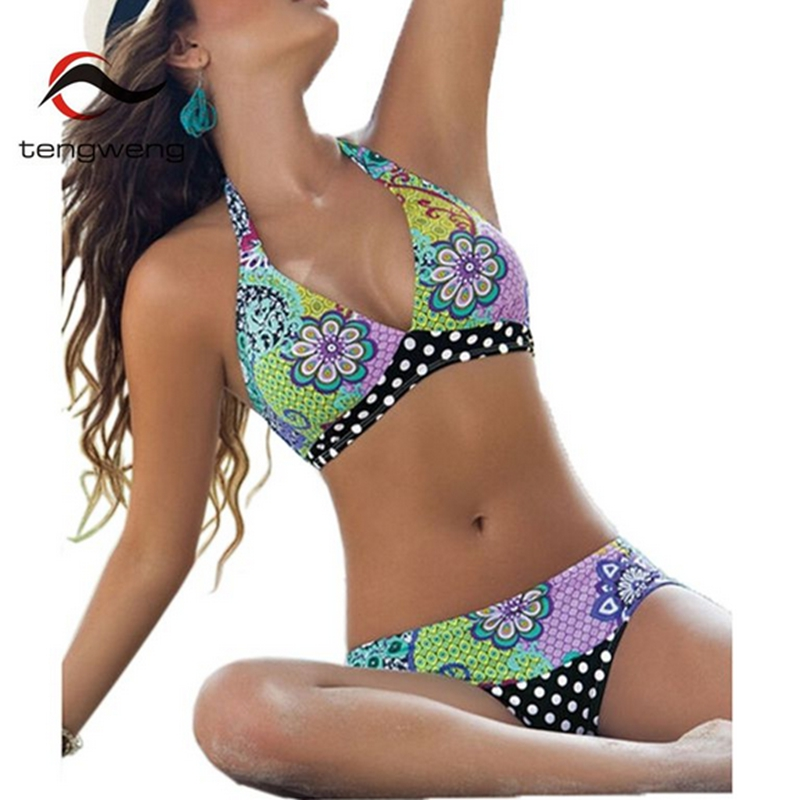2017 Halter Push Up Bikini Set Floral Print Swimsuit Vintage Dots Swimwear Brazilian BathingSuit Plus Size Maillot de Bain Beach