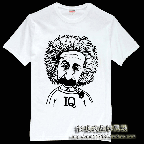 10a96bd42 image 0 Source · Einstein head portrait short sleeve t shirt male iq  smoking pipe t