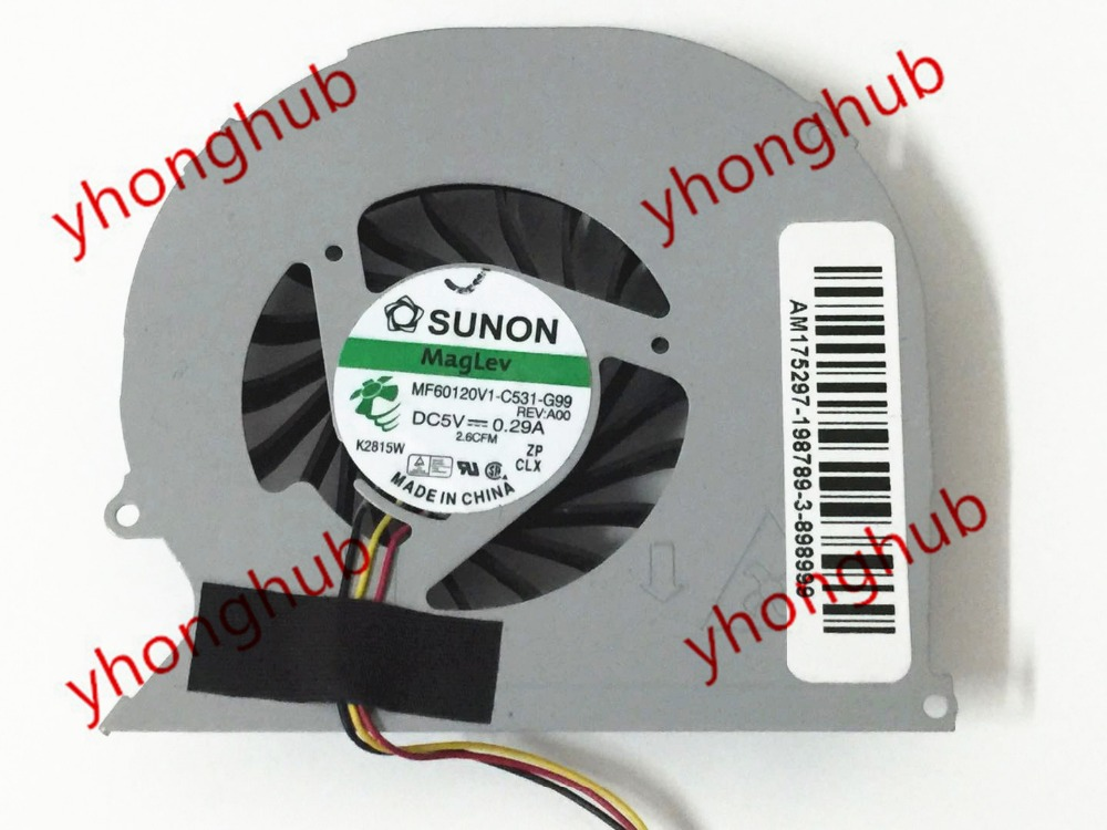 SUNON MF60120V1-C531-G99 MF60120V1-C530-G99 3-wire DC5V 0.28A Server Laptop Fan Both model Can Replace
