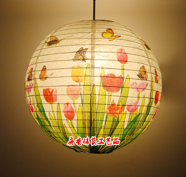 Year Round Home Decoration Art Paper Hanging Lamp Shade Restaurant Tulip  Paper Lanterns Handmade Paper Lamps