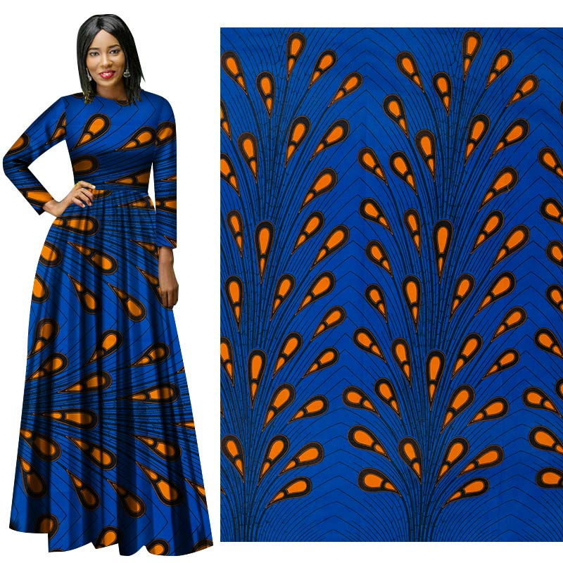 Me-dusa 2019 Latest blue Wheat African Print Wax Fabric 100% cotton Hollandais Wax DIY Dress Suit cloth 6yards/pcs High quility(China)