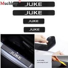 Углеродное волокно виниловая наклейка дизайн для Nissan JUKE автомобильный порог Порог Пластина Автомобильные аксессуары двери шаг пластина автомобиля Стайлинг 4 шт.