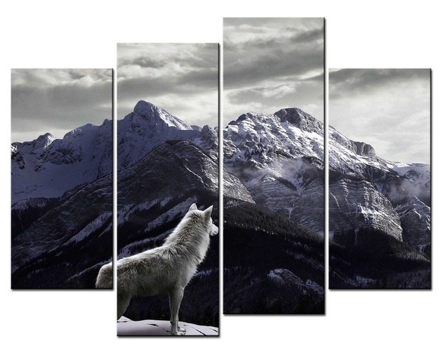 Hot Box Framed 4 Panel Image Snow Mountain White Wolf Canvas Print ...