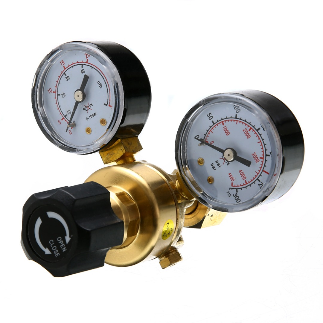 1pc W21.8 Oulet Argon CO2 Gas Brass Pressure Regulator Mig Tig Welding Flow Meter Gauge
