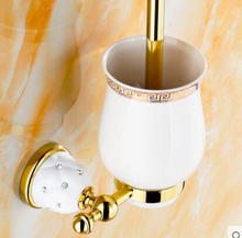fashion high quality gold finished brass bathroom toilet brush holder,ceramic base Europe style bathroom accessories