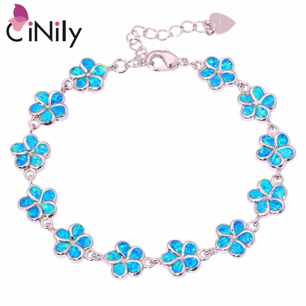 CiNily Created Blue White Fire Opal Silver Plated Wholesale Flower for Women Jewelry GIFT Chain Bracelet 6 1/4-8 1/8 OS418-19 pc male sync to 3 5mm plug jack cable cord for studio camera flash strobe light page 3