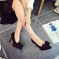 La primavera y el otoño nueva moda de las mujeres señaló zapatos de tacón alto de las mujeres zapatos de gamuza mate fino con las mujeres del arco de cuero zapatos de tacón alto