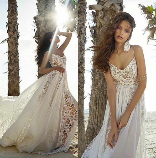 6be30addcf Beach Wedding Dresses 2019 Lace and Chiffon Summer Spaghetti Straps  Backless Bohemia Bridal Gown abiti da sposa vestido de novia