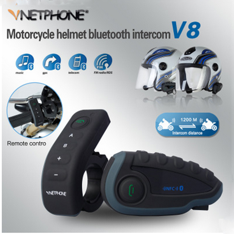 VNETPHONE V8 Intercom Without Remote Control 5-Way Group Talk Bluetooth Motorcycle Helmet Headset FM NFC 1.2KM