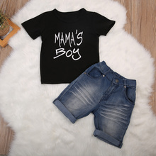 Pudcoco 2018 New Mama's Boy Kids Baby Boy Clothing Set Casual T Shirts Top Denim Shorts Pants Toddler Boys 2PCS Summer Outfits