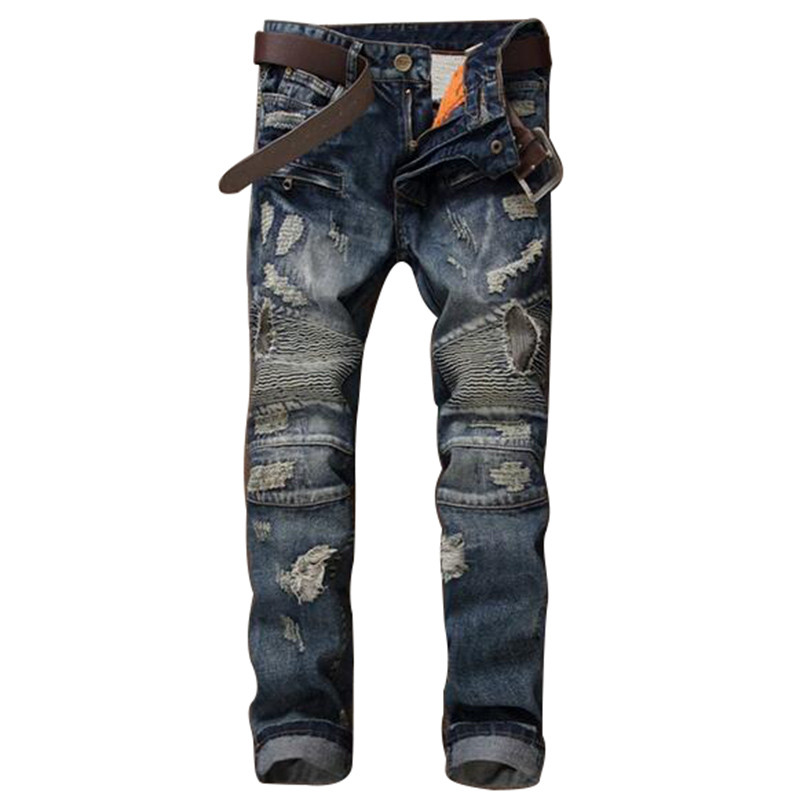 Mens Distressed Biker Jeans Pants Brand Designer Ripped Moto Denim Joggers Male Slim Fit Straight Pleated Biker Jeans Trousers 2017 fashion patch jeans men slim straight denim jeans ripped trousers new famous brand biker jeans logo mens zipper jeans 604