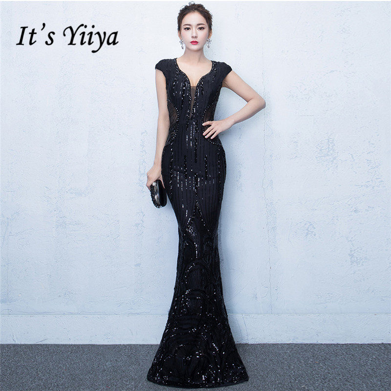 It's YiiYa Trumpet   Evening     Dresses   V-neck Hollow Out Black Shiny Sequined Sleeveless Dinner Vestidos Zipper Party Gowns CQX015