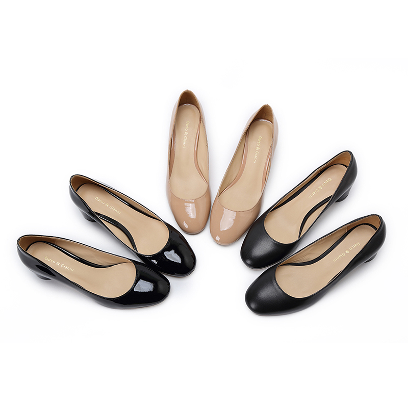 800562b37e 2018 Hot Sell Genuine Leather Slip On Chunky Mid Heels Square Toe Black  Round Toe nude. US $64.99. Darco & Gianni 2017Autumn Winter New Women's ...