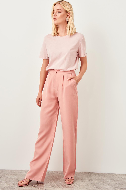 Trendyol Salmon Pink High Waist Straight Leg Pants Lyocell Women's Trousers 2019 Spring Office Lady Workear Pants TWOSS19BB0132