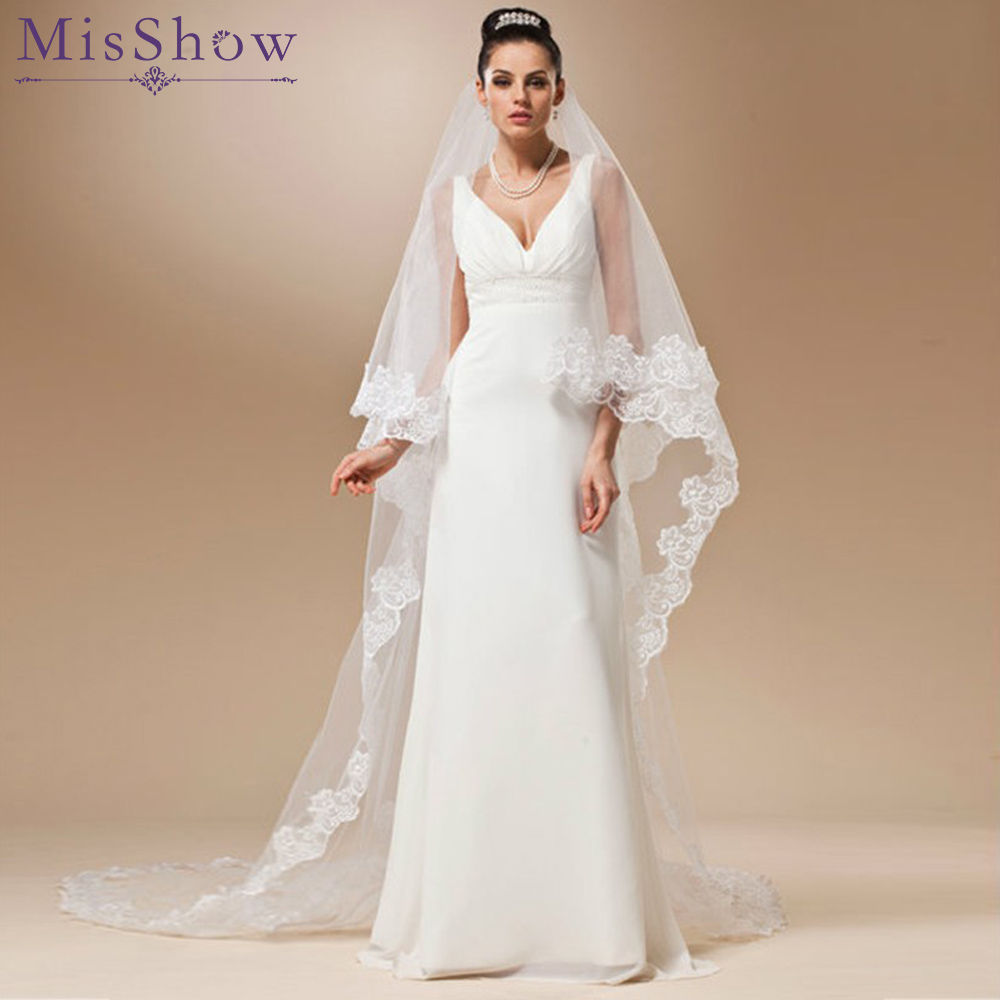 Stock White Ivory Red Cathedral Length 3M Wedding Veils One Layer Lace Tulle Wedding Accessories Bridal Veil Without Comb 2019