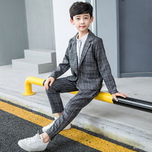 2019 New Autumn Kids Blazers Boys Suits Plaid Single Breasted 2Pcs Coats + Pants for Wedding Wear Children Clothing Sets