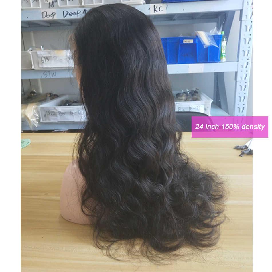 Pelucas de cabello humano frontal de encaje de onda del cuerpo pelo de bebé de 8-26 pulgadas 150% cabello humano peruano frontal de encaje pelucas