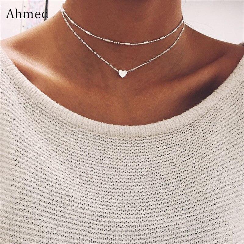 Ahmed Vintage Copper Love Heart Pendant Double Layer Clavicls