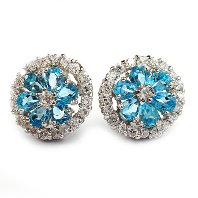 925 sterling silver flower earrings Natural bule topaz stud earrings 3mm*4mm*12pcs natural topaz gemstone earring for woman
