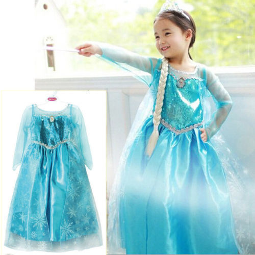 Promotion High Quality Girls Princess Anna Elsa Cosplay Costume Kid's Party Dress SZ 3-8Y